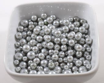 Gray Glass Pearls In Three Sizes