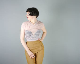 50s SHEER nylon blouse in pastel PINK with ruched pattern - see through Mid Century nylon shirt - S