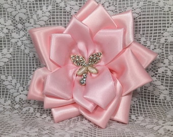 Pale Pink Satin Accessories- Roses & Bows- Butterflies,Brooch; Wrist Corsage; Hair and Shoe Clips; Wedding, Spring, Easter,Special Occasion