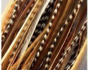 "7 Feathers  7""-10"" Grizzly Ginger Mix with 2 Beads"