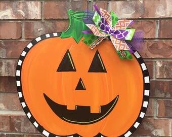 Halloween Door Hanger, Fall Door Hanger, Pumpkin Door Hanger, Jack O Lantern Door Hanger, Pumpkin Wreath, Halloween Wreath, Fall Wreath