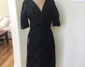 Vintage Black Satin Wiggle Dress 1950s