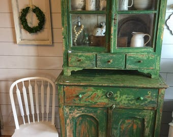 Gorgeous Salvaged Cabinet / Primitive Furniture / Green Hutch / Vintage Hutch