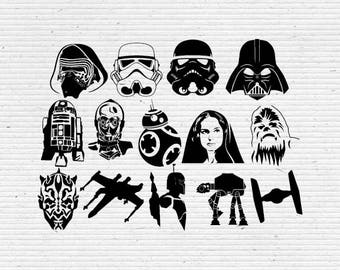 Star Wars Silhouette and Elements,  SVG Cutting File, Printable, T-shirt Design, Scrapbooking Clipart