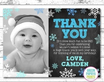 25% OFF Snowflake Thank You, Winter Wonderland, Winter Onederland, Baby It's Cold Outside, Birthday Thank You Card, Digital File, Printable
