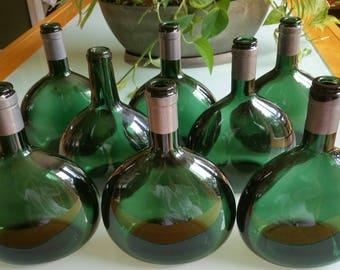 Italian Wine Bottles/Flasks (Eight (8),  Vintage Olive Green