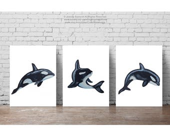 Orca Watercolor Painting, Killer Whale Oceanic Navy Sea Art Print, set of 3 Orcas Blue White Animal Nursery Canvas Poster, Mammal Fish Decor
