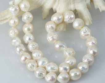 445 ct Kasumi White FRESHWATER PEARLS 16.9 inch STRAND Nucleated Baroque China