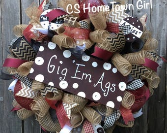 Gig Em Aggies, Texas A&M Wreath, Aggie Wreath