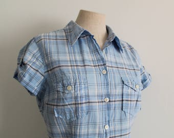 1940s Style Blue Plaid Short Sleeve Blouse Shirt