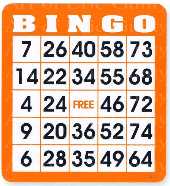 Orange Bingo Card Birthday - Edible Cake and Cupcake Topper For Birthday's and Parties! - D22901