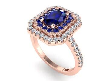 Sapphire Engagement Ring, Double Halo Diamond Ring, Custom made by Irina