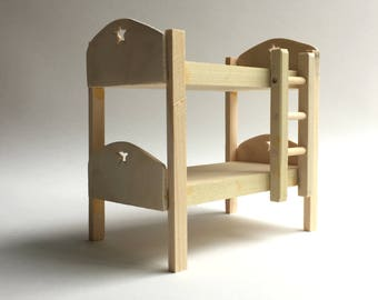 Doll house bunk bed, Dollhouse furniture, Miniature furniture, Handmade dollhouse furniture, Wooden toy