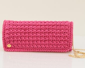 Fuscia/clutch/shoulder bag crochet//women's//////gift ceremony clutch bridesmaid gift//handmade//made in Italy