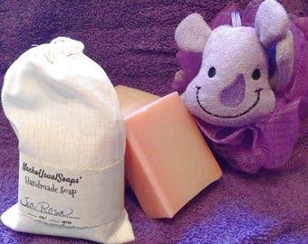 Tia Rosa naturally colored handmade goat's milk soap, handcut bars