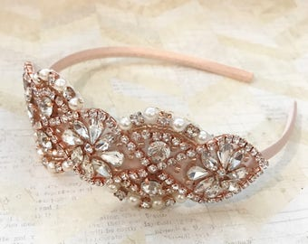 Rose gold and blush headband,rose gold rhinstone headband.flower girl headband,wedding headband,fancy headband,rhinstone headband,rose gold