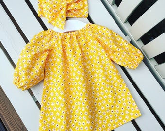 Can be personalised - BABY or GIRL'S DRESS in 100% cotton yellow daisy fabric in with long sleeves age 0-3 mths to 6 years