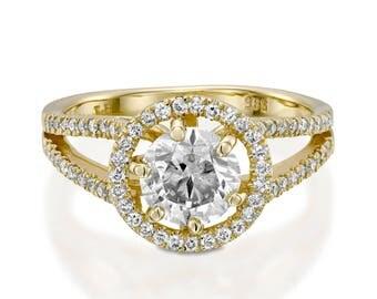 Moissanite engagement ring-Halo Engagement Ring-Yellow Gold Ring-Charles & Colvard Moissanite Ring -Promise ring-Art deco engagement ring