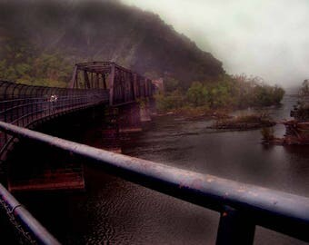 """Mounted Photograph - """"Hiking Through the Fog"""""""