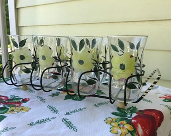 Dixie Dogwood by Joni Tumblers Set of 8 in Decorative Black Metal Carrying Rack/Hand Painted/Blue Ridge/Midcentury/10 oz/Lemonade/Iced Tea