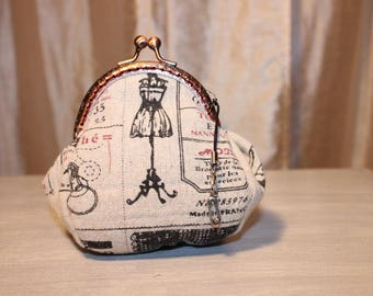 """Purse RETRO cotton and linen """"sewing"""""""