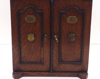 Antique Locking Tiger Oak Smoker's Cabinet 1904
