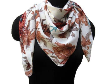 White and brown scarf/ floral scarf/ multicolored scarf / square scarf/  large scarf/ fashion scarf/ gift ideas.