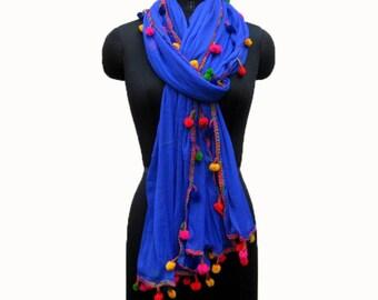 Blue scarf/ plain scarf/ pom pom scarf/ trendy scarf/ fashion scarf/ dupatta/ light weight scarf/ lace scarf/ gift scarf / gift ideas.