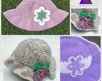 Wide brimmed floppy kids sunhat **Made to Order** Crochet or knitted child's hat, teen cotton hat, girls cotton floppy sunhat, boys sun hat