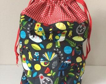 Project bag, drawstring bag, wip bag, craft bag, knitting crochet bag, birds