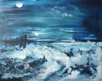 Two moons - seascape-surreal - acrylic on canvas cotton craft - 36X58cm