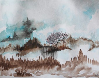 The bridge of chimneys of fairies - turquoise and Tan landscape - original watercolor painting on A3 paper