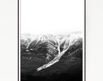 Mountains Print Poster Forest Wall Decor Nordic Art Scandinavian Monochrome Black White Nature Wilderness Minimalist Snow Wild Winter 1053