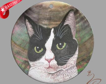 Hand painted cat, Hand painted pendant, Hand painted necklace, Hand painted Making gifts, Painting cat, Shell painting cat.