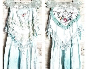 Pink Sunshine Shabby REVERSIBLE mint front to back crochet embroidery cutwork art layered lace prairie gypsy floral ruffle rustic Boho dress