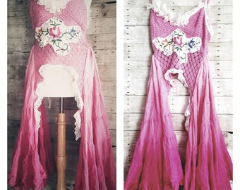 Pink Sunshine Shabby Victorian Bustle steampunk floral ruffle maxi Boho dress top crochet cami tank dress tunic M L