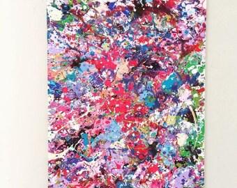 SALE Splatter Pink Art Action Painting Abstract Canvas Art Original Acrylic Art Abstract Painting Red Blue Art Splatter Painting 18x24 canva