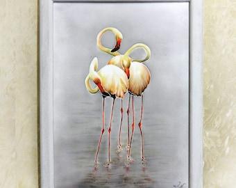 Flamingo Art Original painting Small Wall decor Contemporary art Interior fine art Modern Textile picture Batik Painted Animals Birds Nature