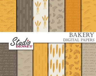 80% OFF - LIMITED TIME - Bakery Digital Papers, Bread, Wheat and Croissant, Food Papers in Yellow and Brown, Blog Backgrounds or Card Making