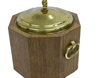 Mid-Century Modern Brass and Wood Ice Bucket