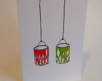 Merry Christmas Ya Filthy Animal - Home Alone Inspired Paint Cans- Handmade and printed from original ink and gouache illustration