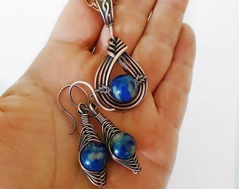 Wire wrap set lapis lazuli, blue  lapis earrings, lapis pendant necklace, lapis jewelry set copper wire set, copper wire jewelry set blue