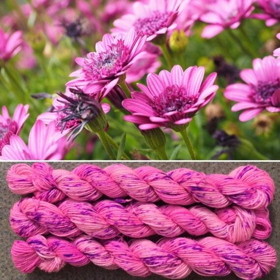 Pink Daisies 20g Miniskein, speckle dyed merino nylon sock indie yarn