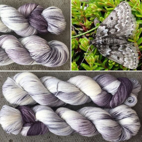 Mountain Moth, merino nylon blend grey gray speckle dyed indie sock yarn