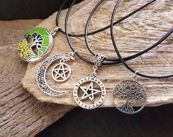 Collar correa cuero pagano, verde amarillo árbol de la vida, Luna y estrellas, Rune, pentáculo, gótico