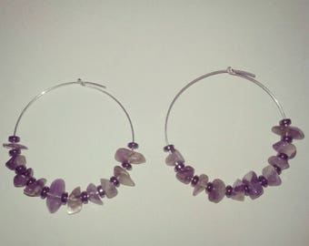 Silver Hoops with Amethyst and hematite