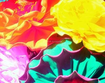Flores Fine Art Print, Mexican Paper Flowers, Floral, Tropical Decor, Garden