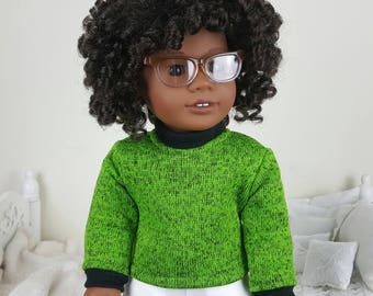 18 inch doll green sweater | green & black shirt