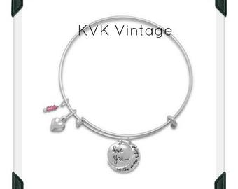 Love You To The Moon Multi-charm Bangle Bracelet