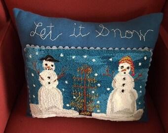 Snowman couple pillow